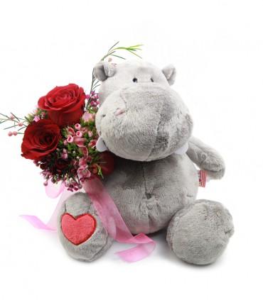 Hipopótamo Gris & Rosas