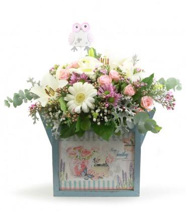 Caja de Madera Vintage con flores