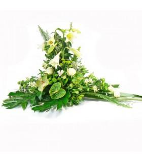 Coixí flor variada i anthurium verd