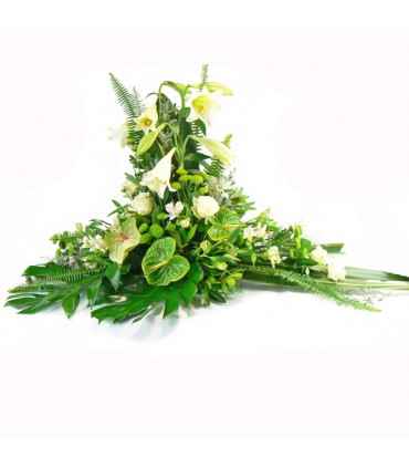 Cojín flor variada y anthurium verde