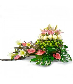 Cojin flor variada y Anthurium rosado
