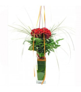 Bouquet 6 Roses & Gerro