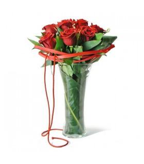 Bouquet 12 roses & gerro