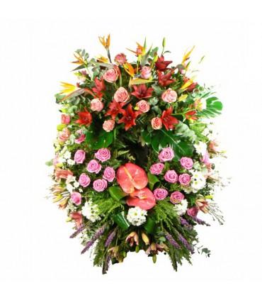 Corona varida con rosas